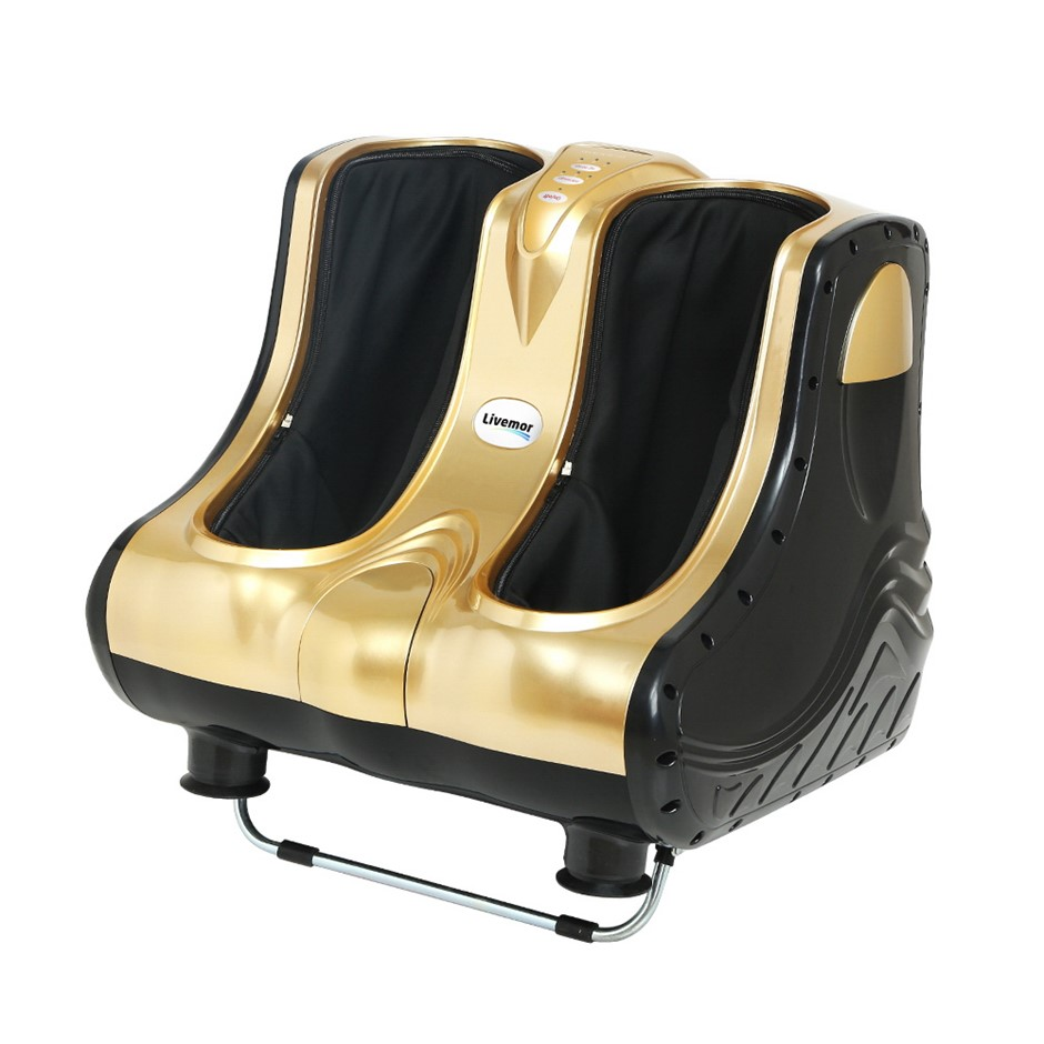 Livemor 3D Foot Massager Machine Ankle Calf Leg Shiatsu Kneading Gold