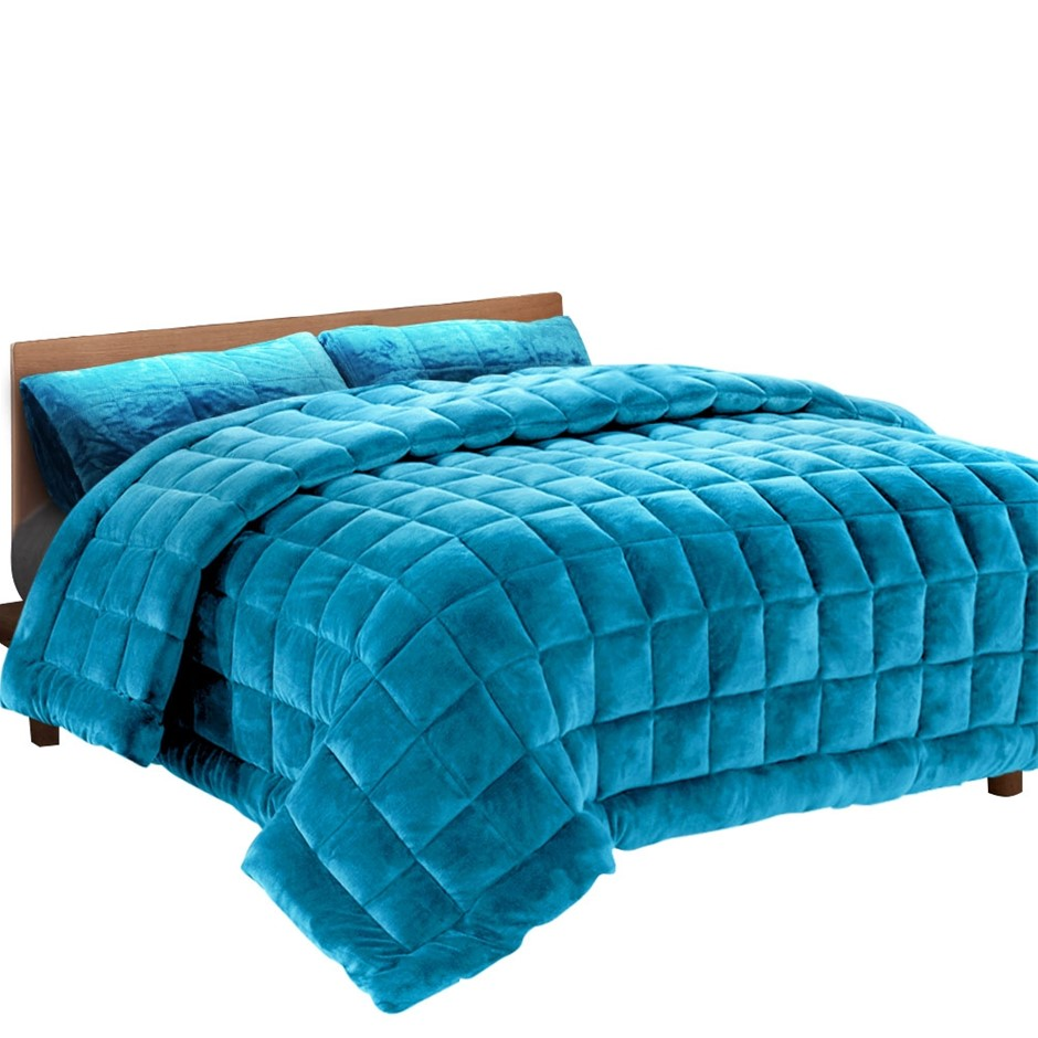 Giselle Bedding Faux Mink Quilt Comforter Winter Throw Blanket Teal Queen