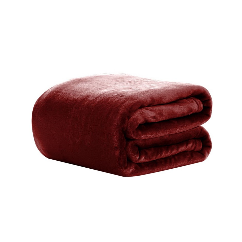 Giselle Bedding Faux Mink Blanket Winter Quilt Doona Fleece Red King