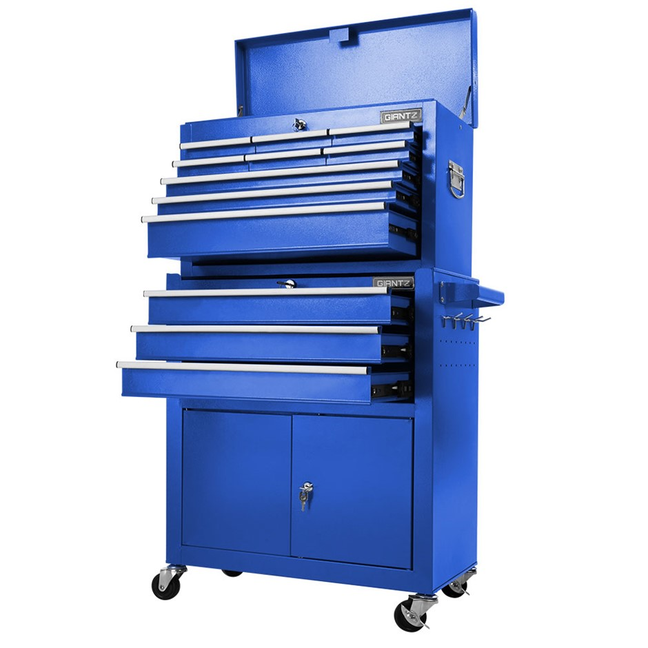 Giantz Tool Box Chest Cabinet Trolley Cart Garage Toolbox Storage - Blue