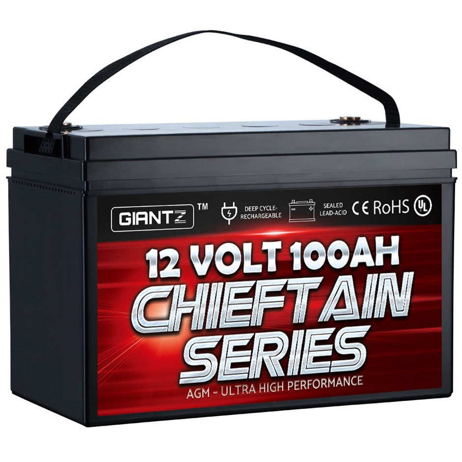 GIANTZ 100Ah Deep Cycle Battery 12V AGM Marine Sealed Power Portable Solar