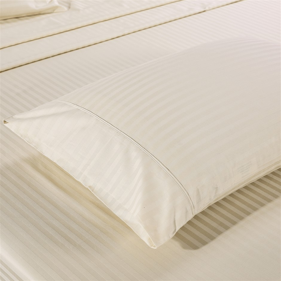 Kensington 1200TC 100% Egyptian Cotton Sheet set in Stripe Single- Sand