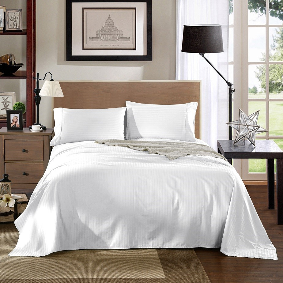 Kensington 1200TC 100% Egyptian Cotton Sheet set in Stripe Double - White