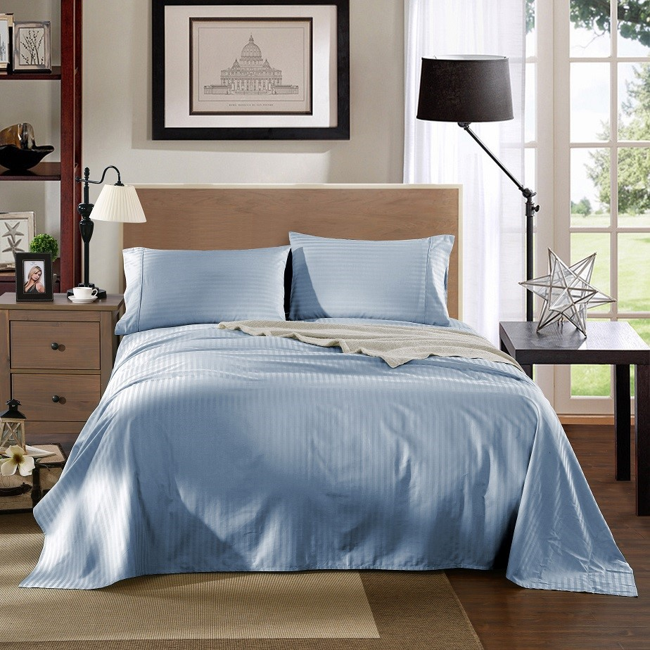 Kensington 1200TC 100% Egyptian Cotton Sheet Set In Stripe-Double -Chambray