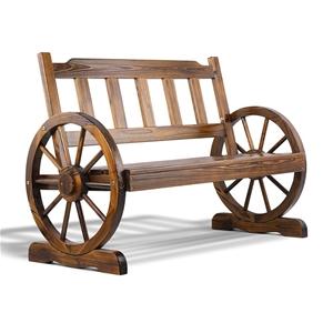 Gardeon Wagon Wheel Bench - Brown