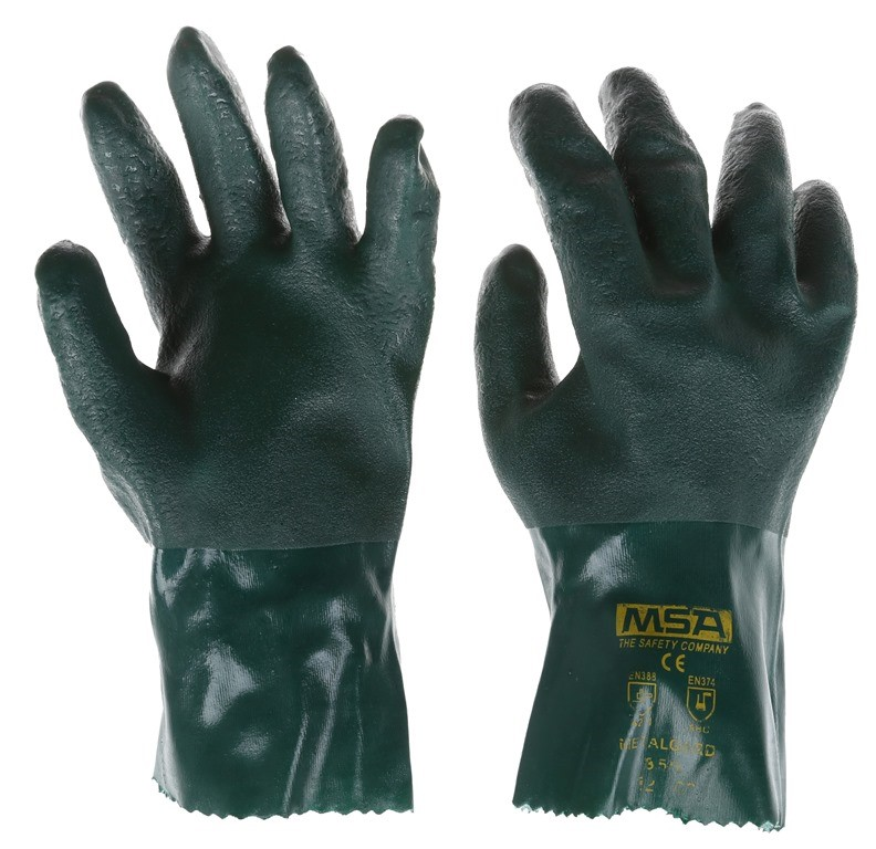 40 x MSA Metaguard PVC Heavy Duty Gloves, Size L, Soft Jersey. (SN:220875-K