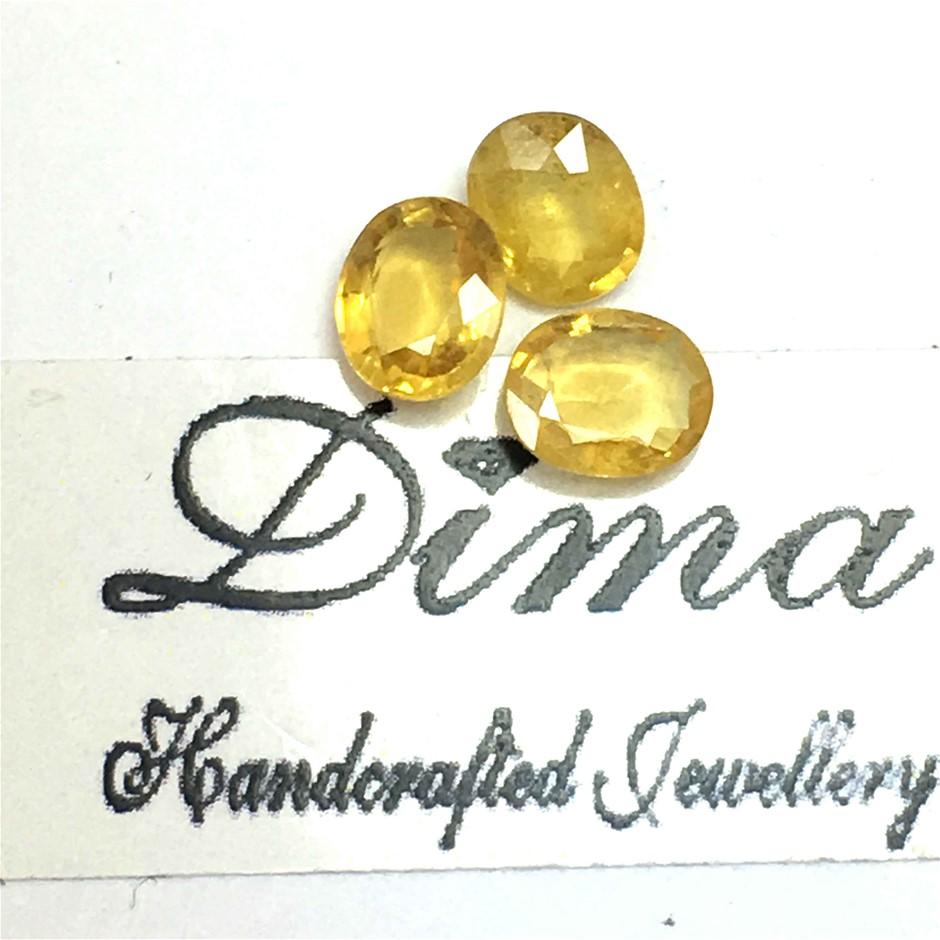 Three Stones Yellow Sapphire Oval 2.16ct