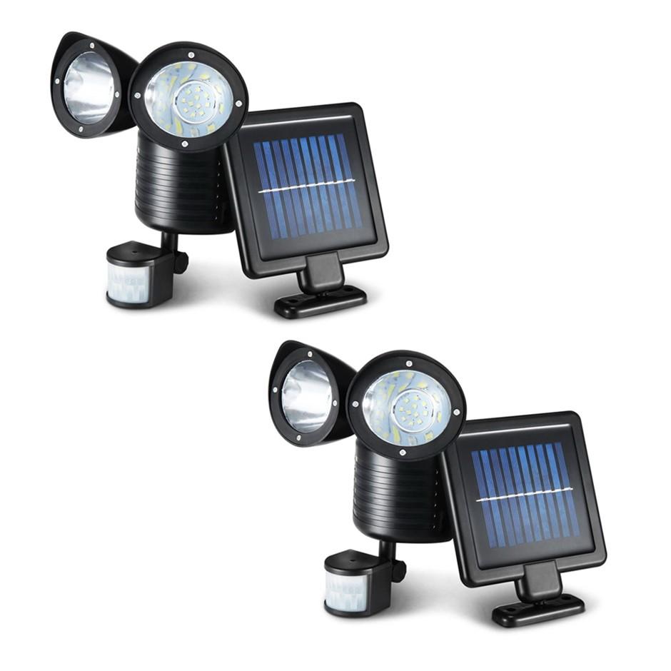 2X 22 LED Solar Powered Dual Light Security Motion Sensor Flood Lamp