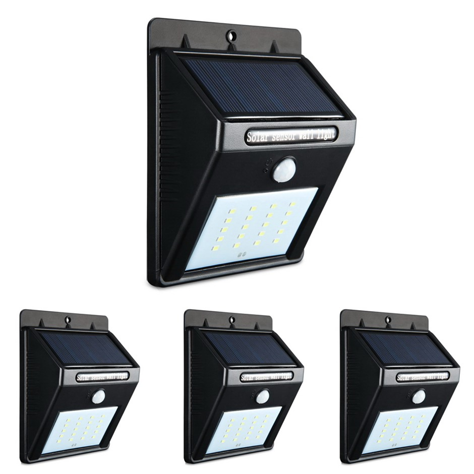 4X 20 LED Solar Powered Wall Motion Sensor Light Garden Security Lamp