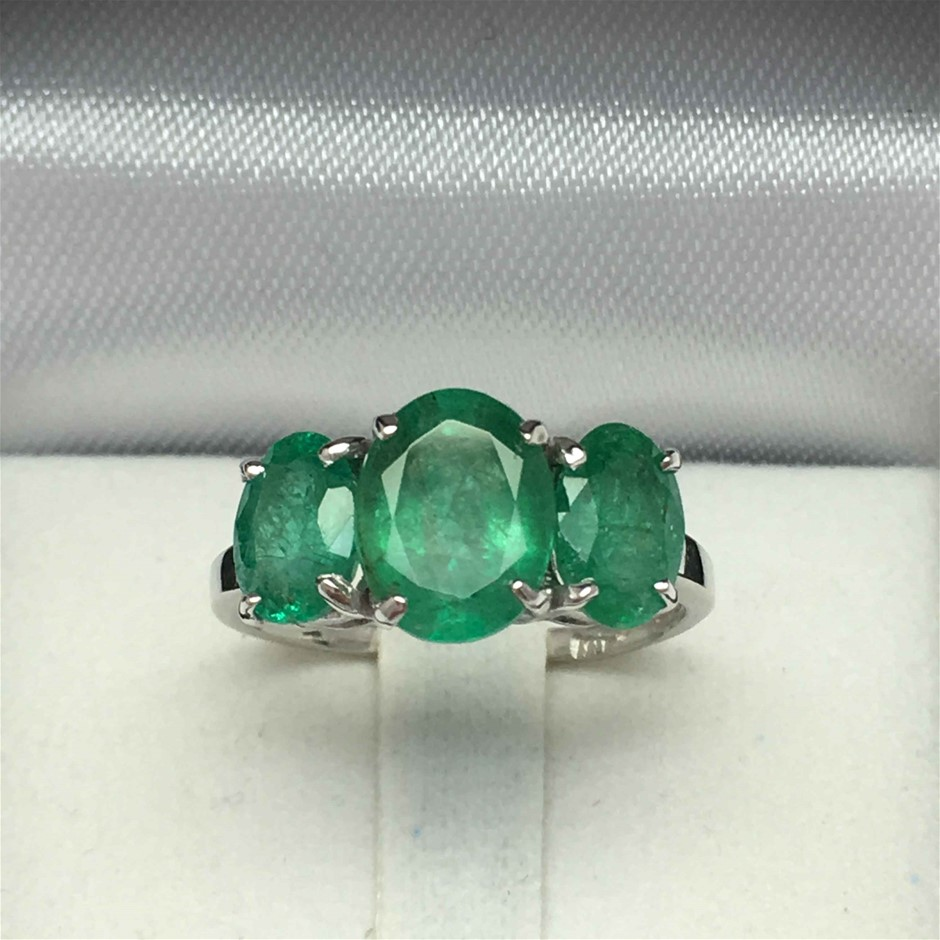 18ct White Gold, 3.52ct Emerald and Diamond Ring