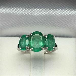 18ct White Gold, 3.52ct Emerald and Diam