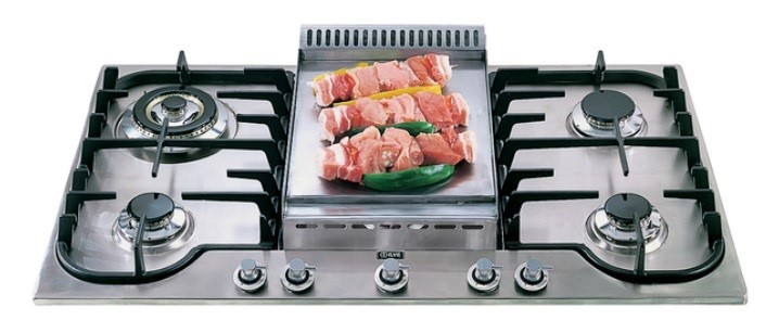 Ilve 90cm H-Series Gas Cooktop with Tepanyaki Plate. Model: H90FCVX
