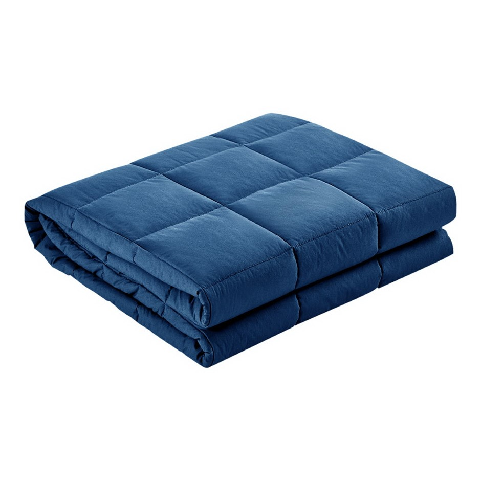 Giselle Bedding 9kg Cotton Weighted Blanket Heavy Gravity Deep Adult Navy
