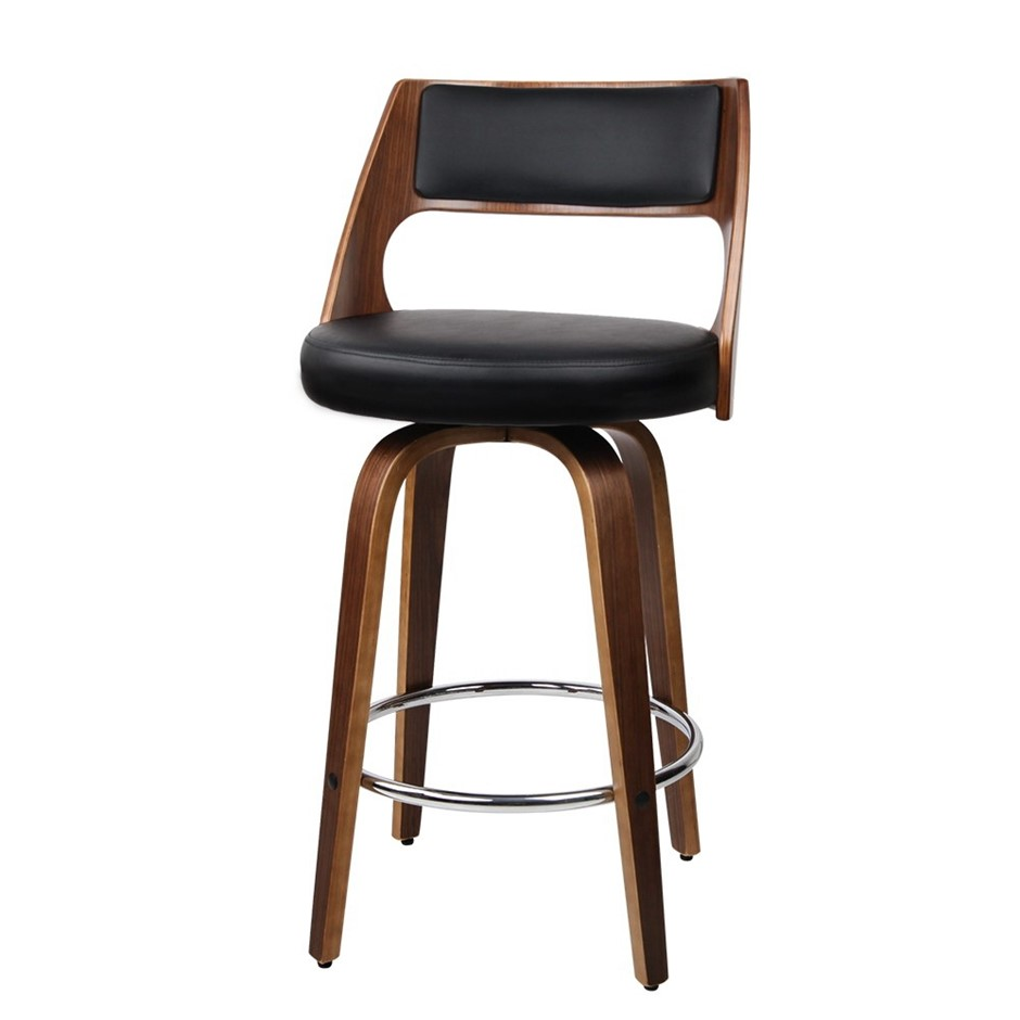 2xArtiss Wooden Bar Stools Swivel Bar Stool Dining Chair Cafe Black 76cm