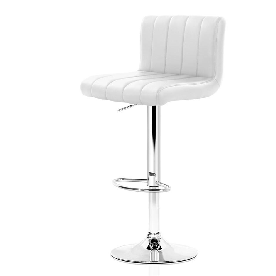 Artiss 2x Leather Bar Stools Chair Bar Stool White Como Gas Lift Swivel
