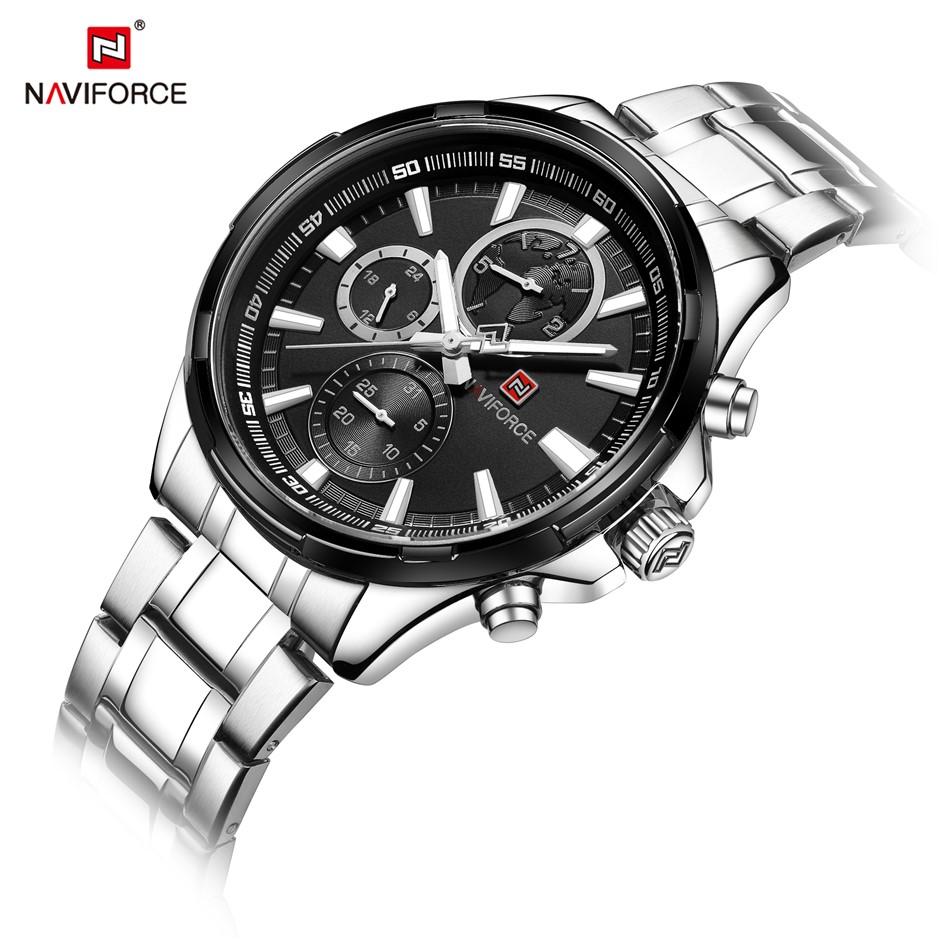 NAVIFORCE Men Classic Chronograph Seiko Movement SS Watch NF9089-SB