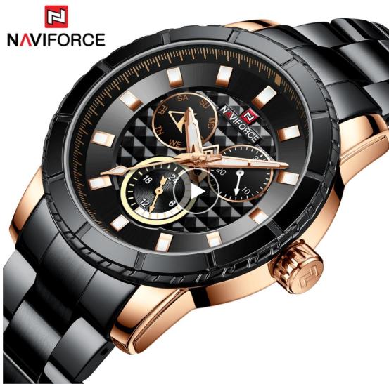 NAVIFORCE Men Luxury Chronograph SS Black Gold Wristwatch