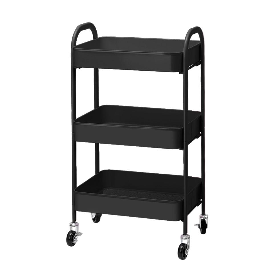 Artiss 3 Tier Kitchen Storage Cart Portable Rolling Rack Wheel Office Tool
