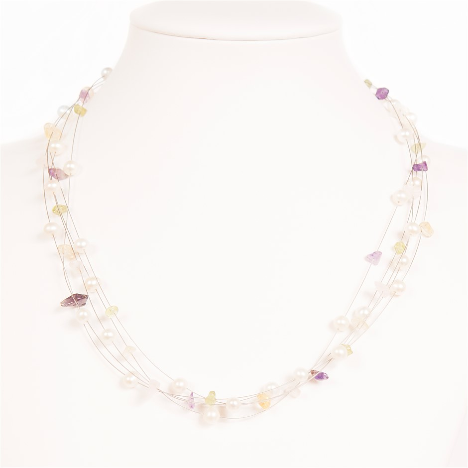 5 Row Freshwater Pearl, Amethyst, Rose Quartz, and more Set Silver Necklace