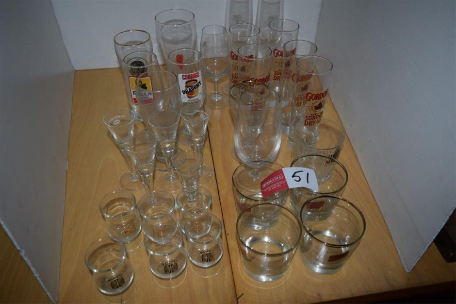 Lot of 31 Pieces of Assorted Beverage Glasses