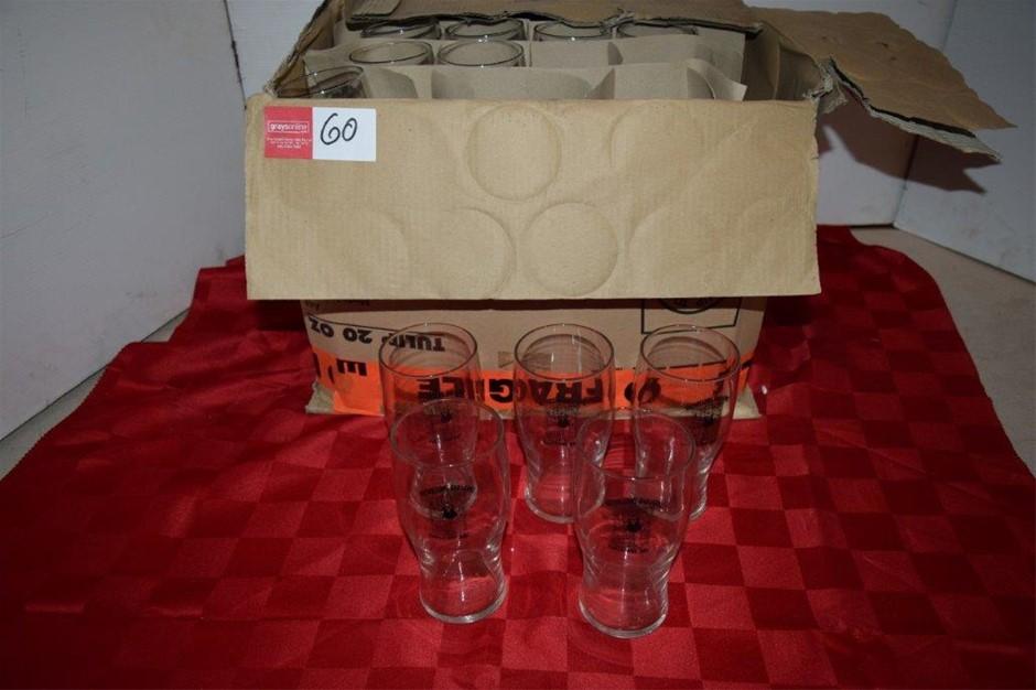 Unused Lot of 29 Branded 20oz Pint Beer Glasses