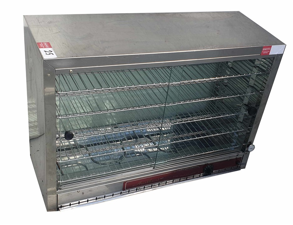 AUSTHEAT COUNTERTOP FOOD WARMER 2 SLIDING GLASS DOORS ON STAFF SIDE <