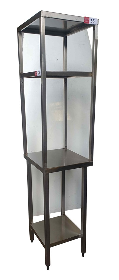 UP RIGHT STAINLESS STEEL TABLE WITH UNDER SHELF & OVER HEAT TOP STAINL