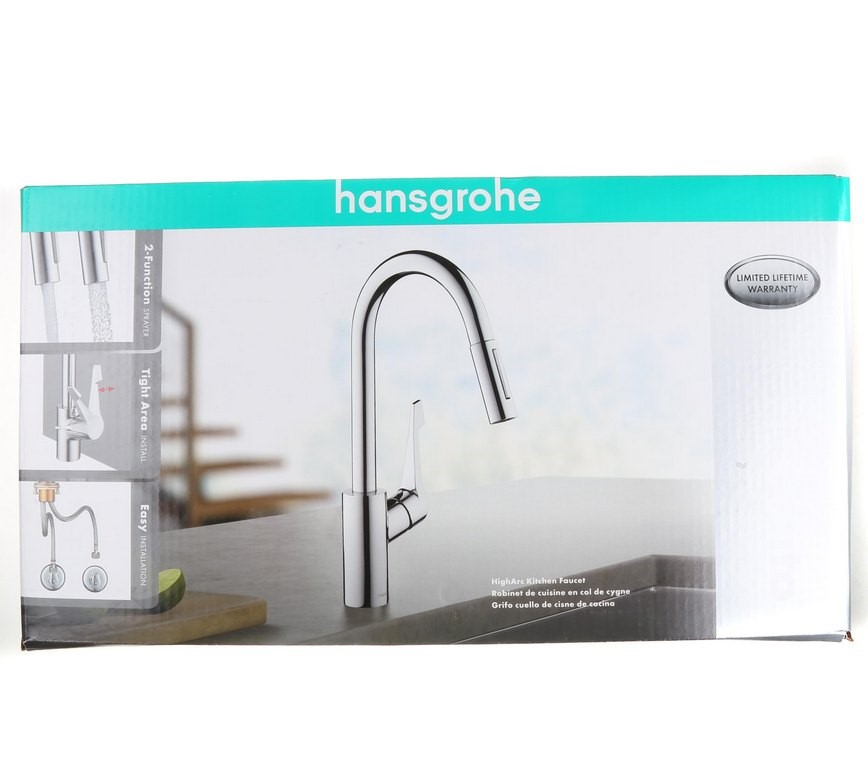 HANSGROHE Cento Pull-Out Spray Kitchen Mixer Tap, Chrome with Sold Brass co