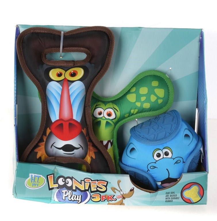 HAPPY TAILS Loonie Friends Plush Strong Durable Rubber Dog Toy Set of 3. (S