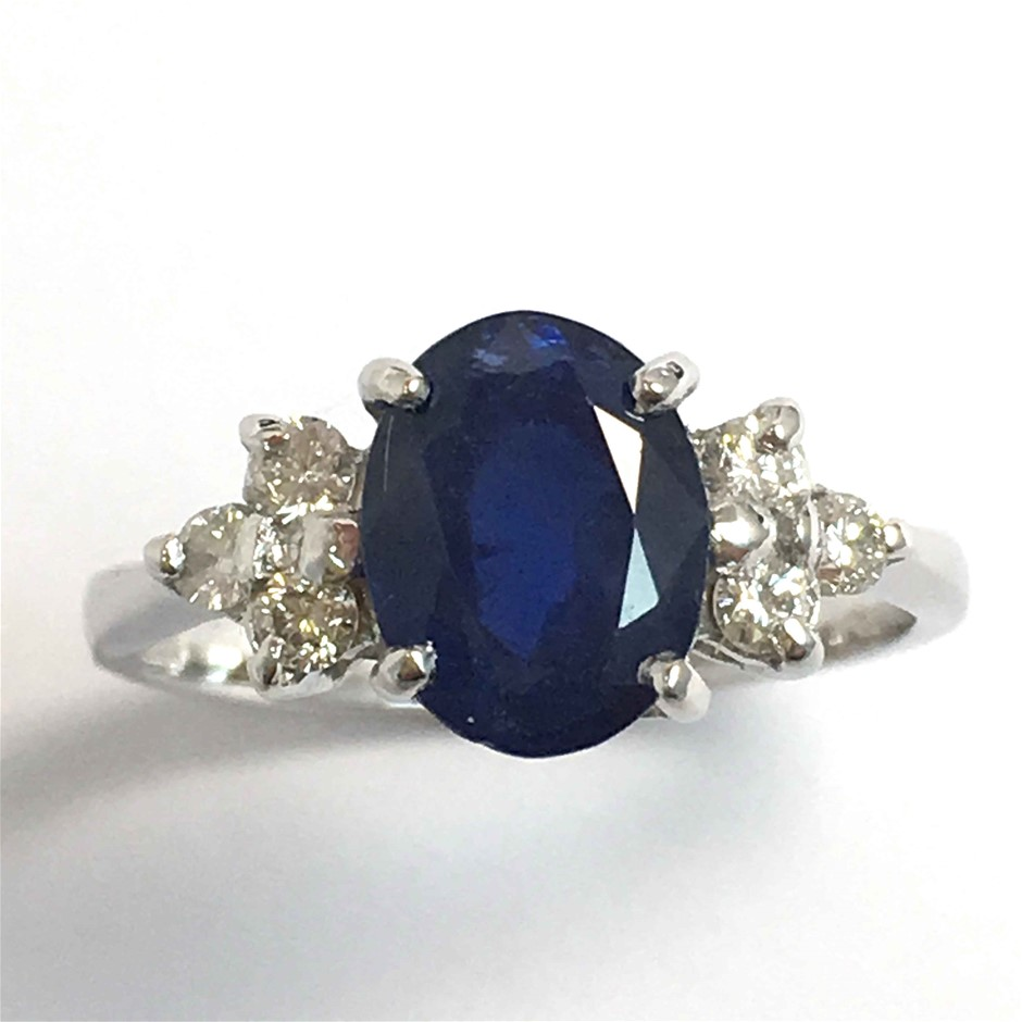 18ct White Gold, 3.01ct Blue Sapphire and Diamond Ring