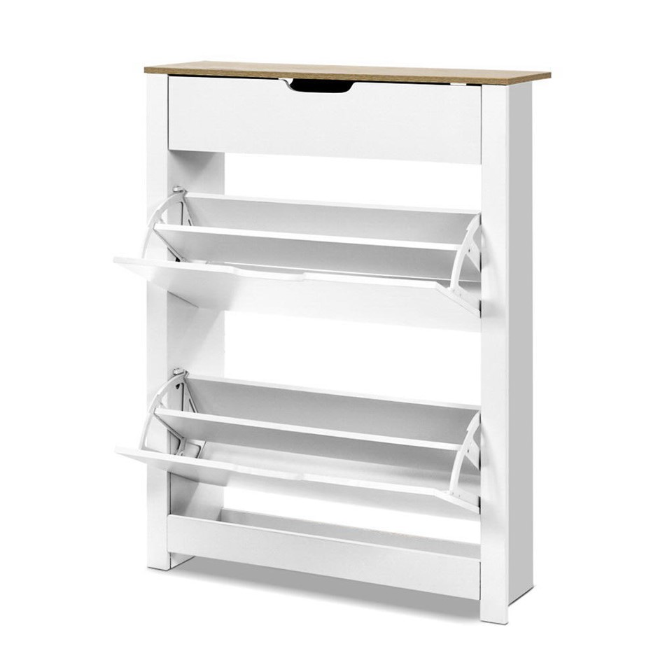 Artiss Shoe Cabinet Rack Storage Organiser Cupboard Shelf 16 pairs White