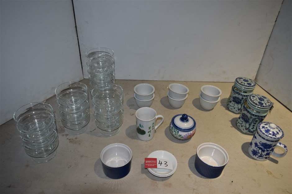 Lot of Assorted Crockery, Cannisters and Glass Dessert Bowls