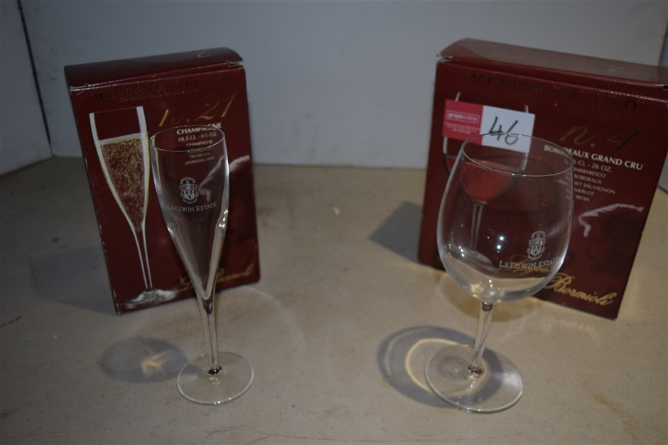 Lot of 2 Unused Boxes of Italian Made Wine Glasses and Champagne Flutes