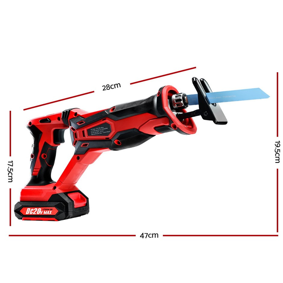 Giantz Cordless Reciprocating Saw Electric Corded 20V Lithium Sabre Saw