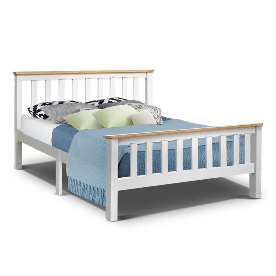Artiss Double Full Size Wooden Bed Frame PONY Timber Mattress Base Kids