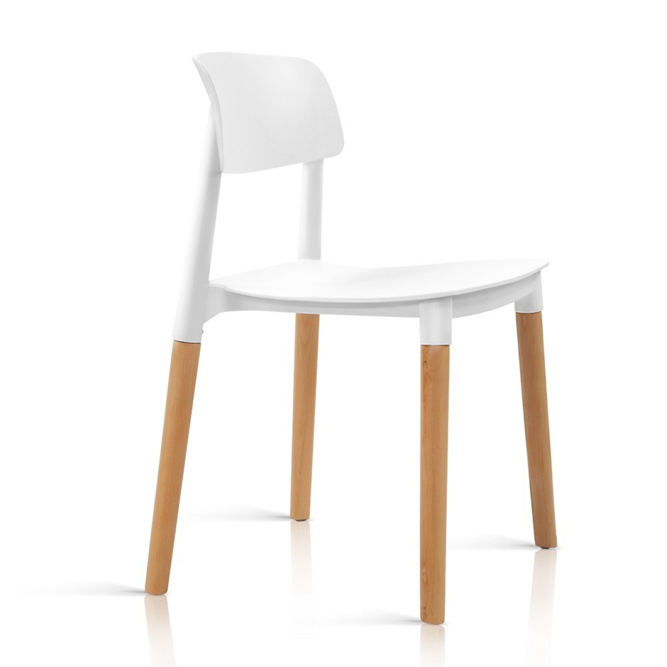 Artiss 4x Belloch Replica Dining Chairs Cafe Stackle Beech Wood Legs White