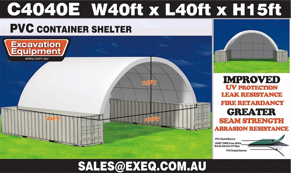 2019 Unused Heavy duty 40ft Container Shelter with Endwall, Model: C4040E