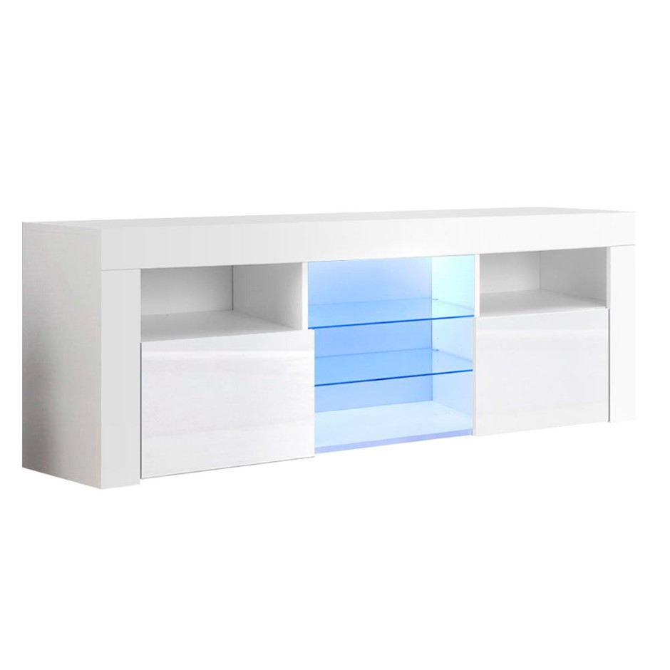 Artiss 145cm RGB LED TV Stand Cabinet Gloss Tempered Glass Shelf White