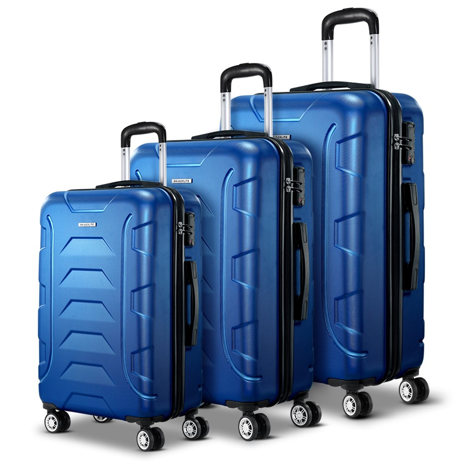 Wanderlite 3PCS Carry On Luggage Sets Suitcase TSA Travel Hard Case Blue