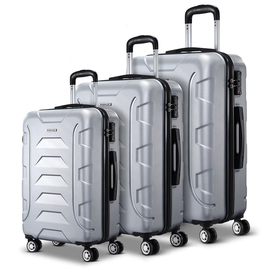 Wanderlite 3PCS Carry On Luggage Sets Suitcase TSA Travel Hard Case Silver