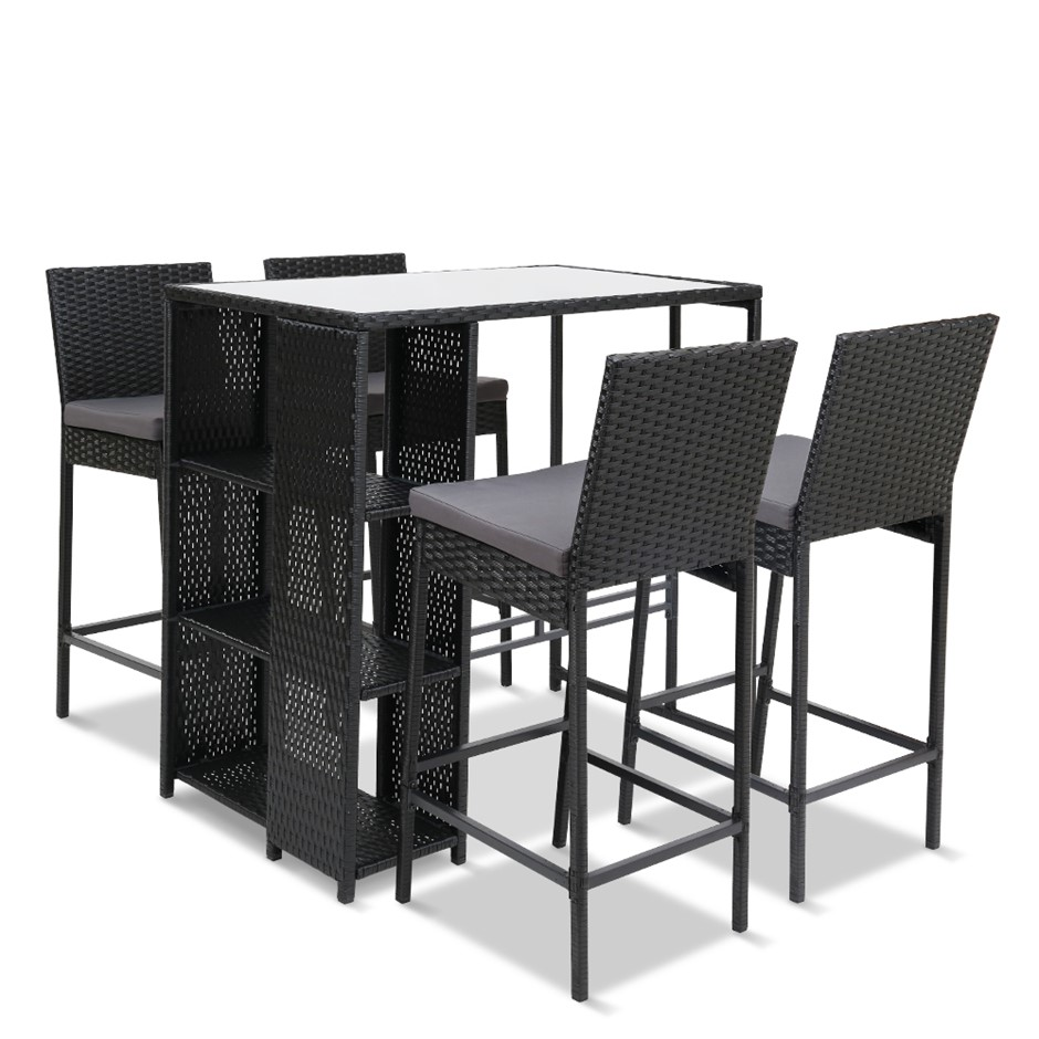 Gardeon Outdoor Bar Set Table Stools Furniture Wicker 5PCS
