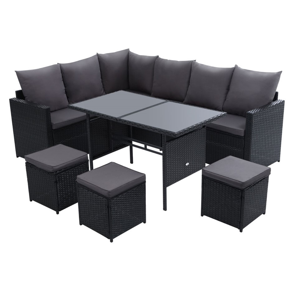 Gardeon Outdoor Furniture Dining Sofa Set Lounge Wicker 9 Seater Black