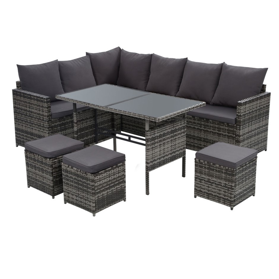 Gardeon Outdoor Furniture Dining Sofa Set Lounge Wicker 9 Seater Mixed Grey