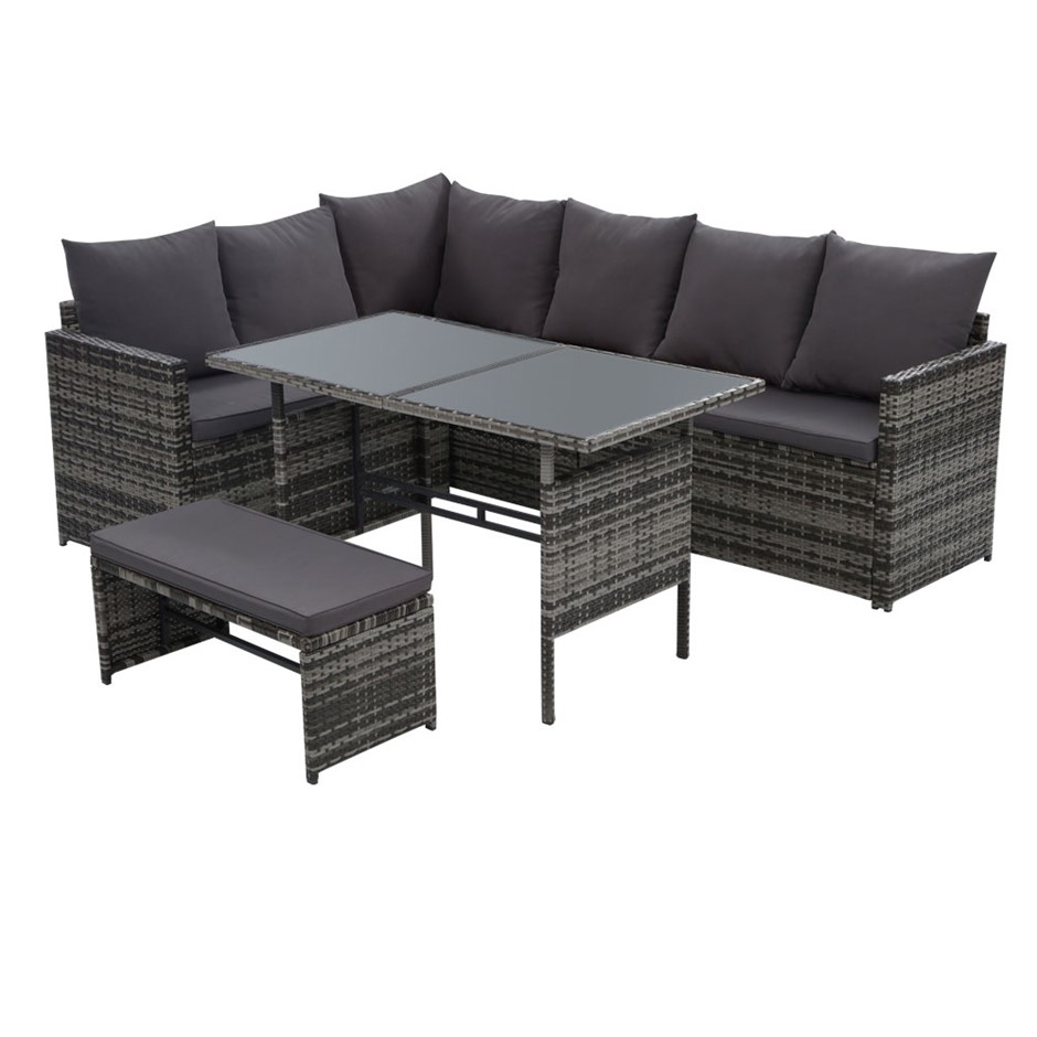Gardeon Outdoor Furniture Dining Sofa Set Lounge Wicker 8 Seater Mixed Grey