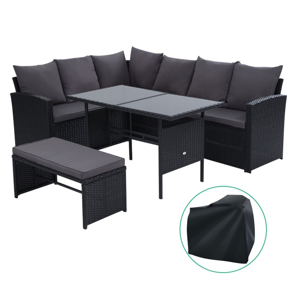 Gardeon Outdoor Furniture Sofa Set Dining Wicker 8 Seater Cover Black