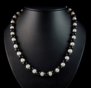 Freshwater White Pearl And Black Agate S