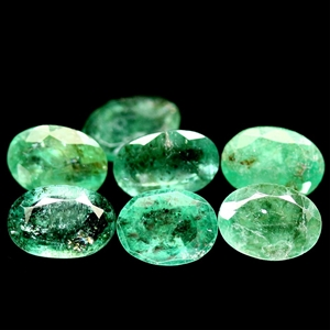 6.79ct. 7 Piece Natural Oval Facet Green