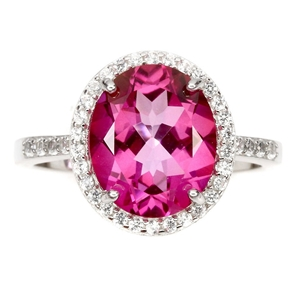 Spectacular Genuine Hot Pink Topaz Ring.