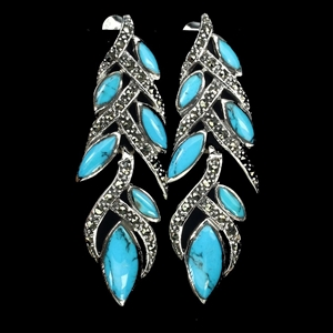 Amazing Genuine Turquoise Feather Drop E