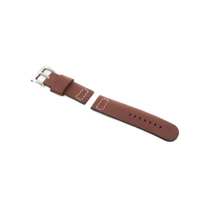 Wax Leather Dark Brown Strap 24/24 with Ammo Buckle fits Panerai & others